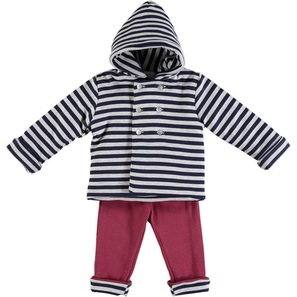 Babidu Baby Navy & Red Two Piece Set