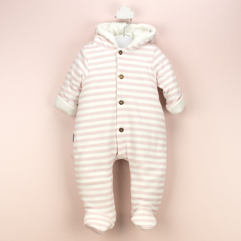 Babidu Baby Pink Striped Padded Pramsuit