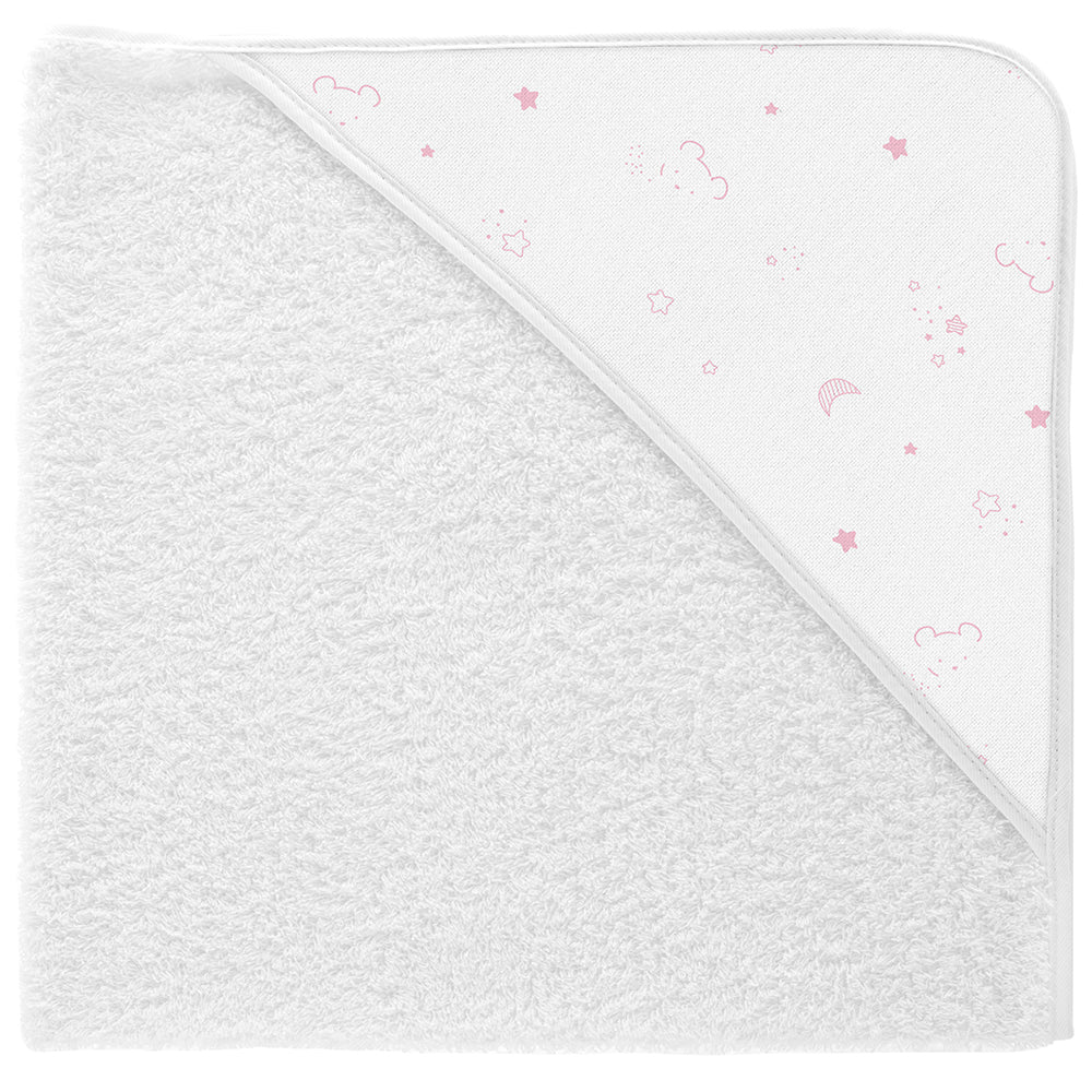 Babidu Pink Bear Print Hooded Towel