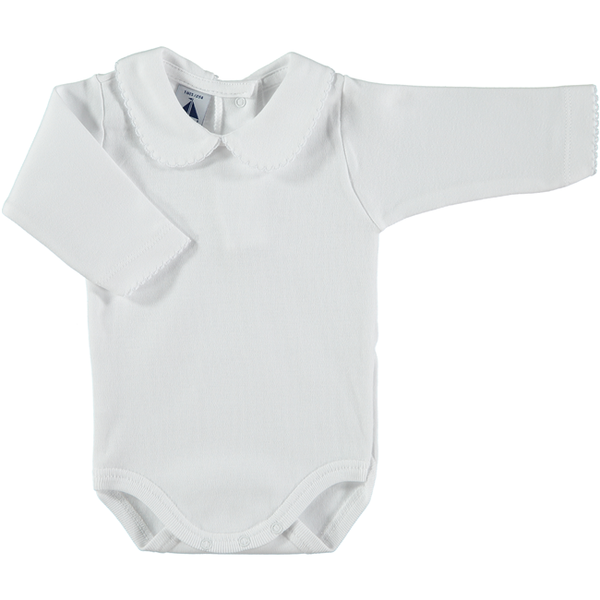 Babidu White Cotton Bodysuit with Peter Pan Collar