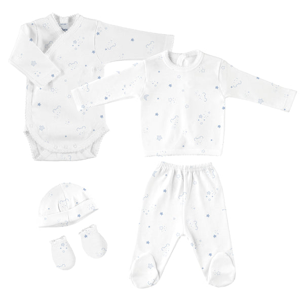 Babidu Blue Bear Print Newborn Gift Set (5 piece)