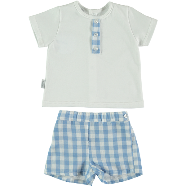 Babidu Blue Gingham T-shirt and Shorts Set
