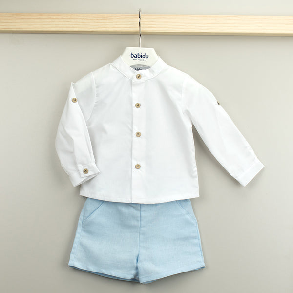 Babidu Boys White & Blue Shorts Set