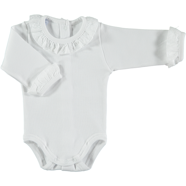 Babidu White Frill Neckline and Cuff Bodysuit