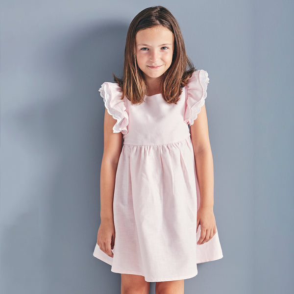 Babidu Girls Pink Ruffle Dress