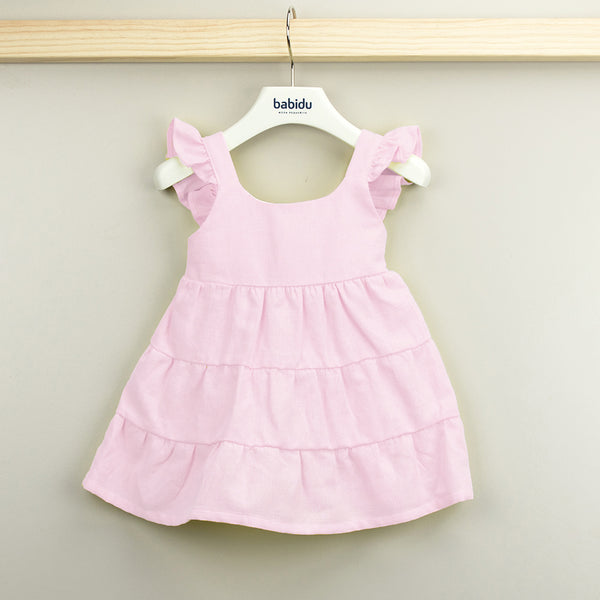Babidu Girls Pink Cotton Dress