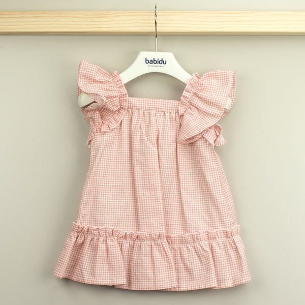 Babidu Girls Pink & White Check Dress