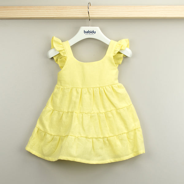 Babidu Girls Yellow Cotton Dress