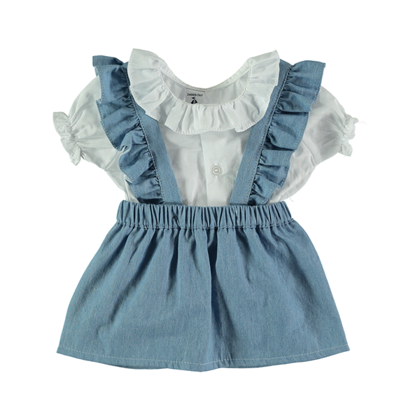 Babidu Blue Pinafore and White Shirt Dress Set