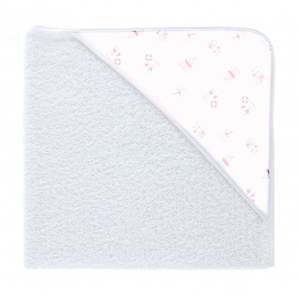 Babidu Pink Beach Print Hooded Towel