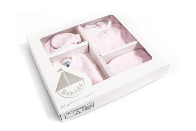 Babidu Pink Stripe Newborn Gift Set Box