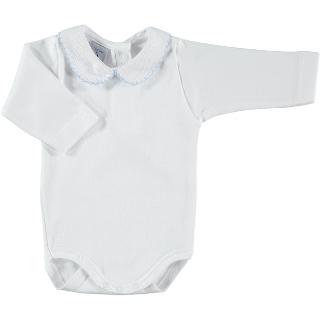 Babidu White Bodysuit with Blue Trimmed Collar