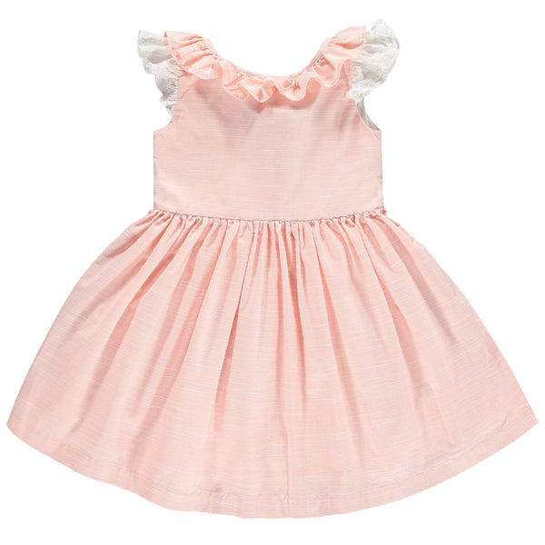 Benedita Girls Peach Ruffle Dress | Lucas & Luna