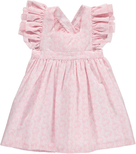 Benedita Cross-back Bunnies Pink Dress