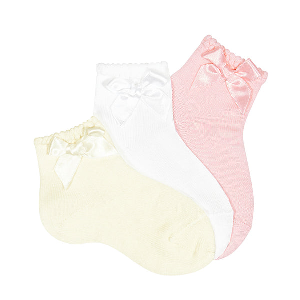 Cóndor Ankle Socks with Matching Bow Cream White Pink