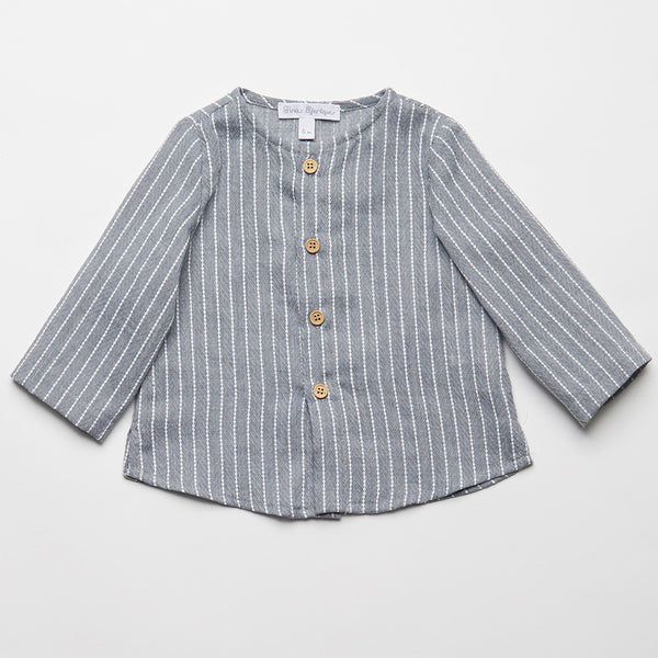 Fina Ejerique Boys Grey Pinstripe Shirt