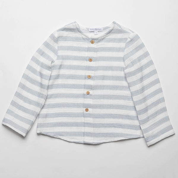 Fina Ejerique Boys White & Blue Striped Shirt