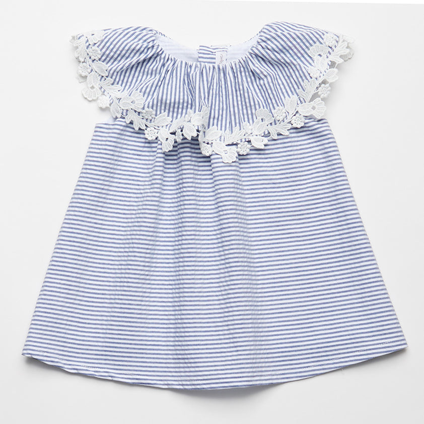 475e5e81a48a Fina Ejerique Girls Blue   White Striped Sleeveless Dress