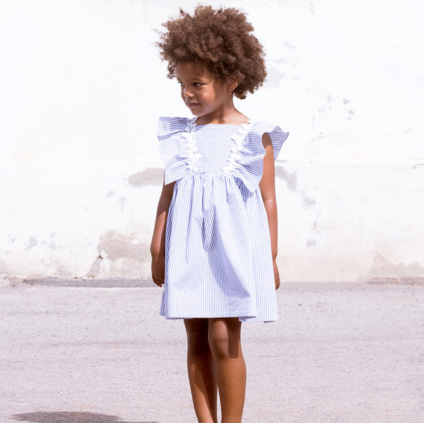 Fina Ejerique Girls Blue & White Striped Dress