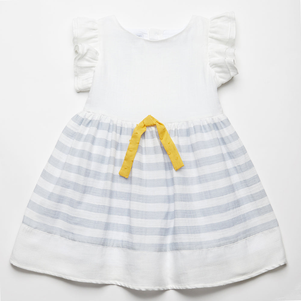 209cc3aff7cc Fina Ejerique Girls White   Blue Cotton Dress