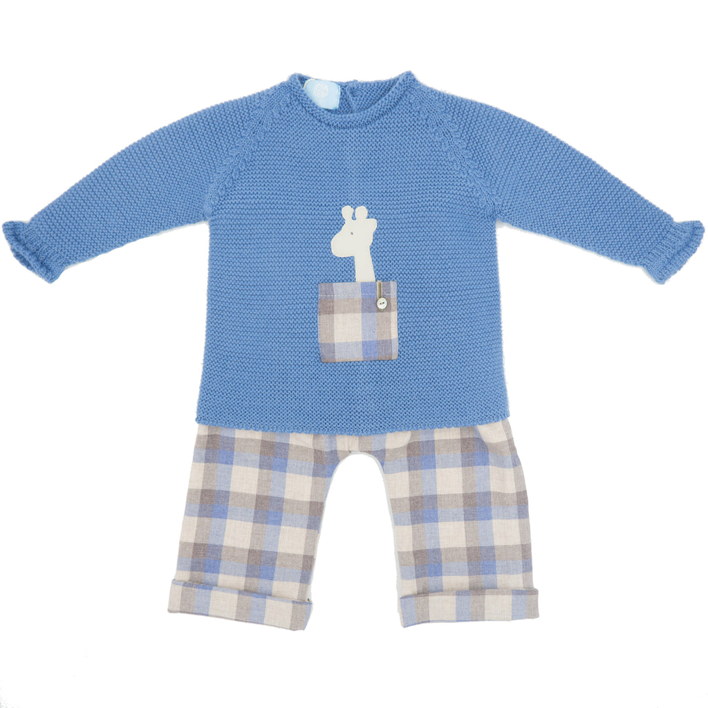 Floc Baby Boys Navy Blue Check Outfit Set