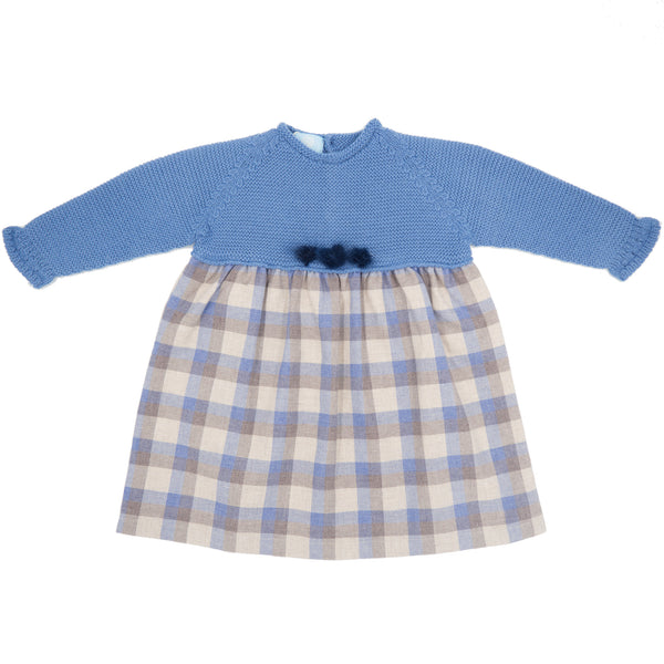 Floc Baby Girls Navy Blue Check Dress