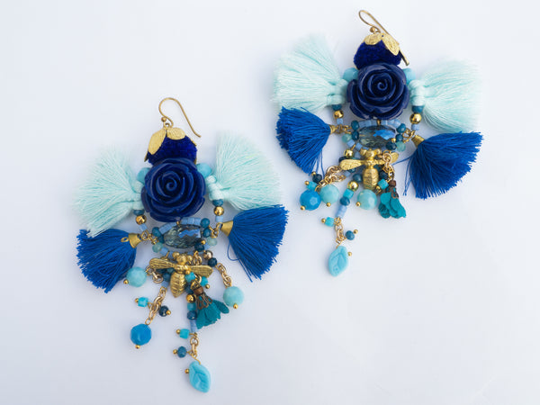 LC Tartaruga Blue Flower Tassel Earrings