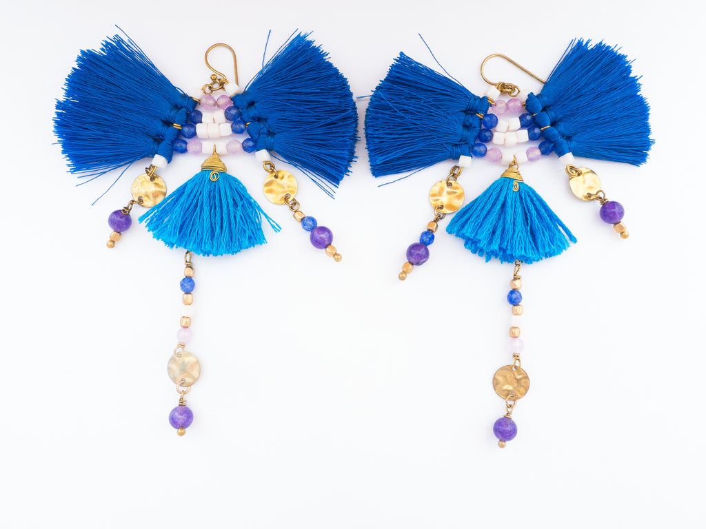 LC Tartaruga Blue Paradise Tassel Earrings