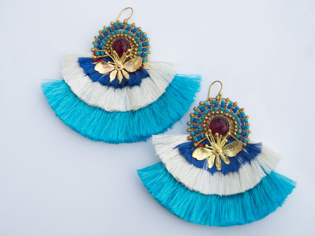 LC Tartaruga Blue Tassel Viva Earrings
