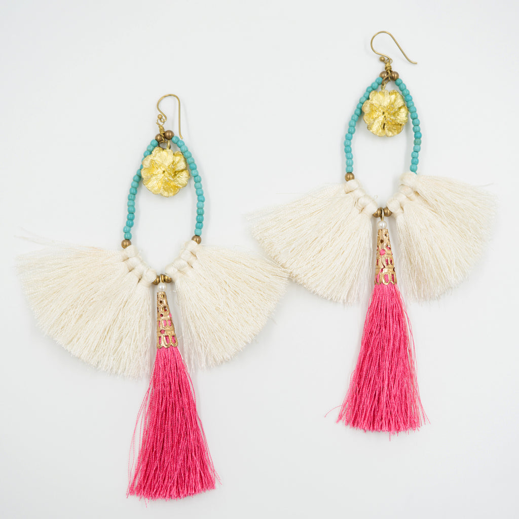 LC Tartaruga Ivory & Pink Retro Tassel Earrings