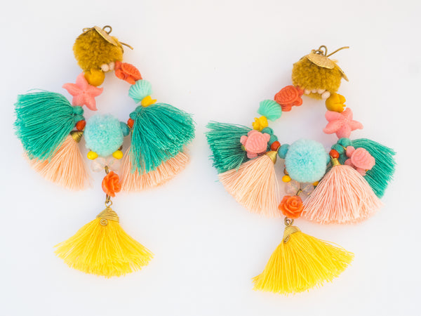 LC Tartaruga Green Pink Yellow Mermaid Tassel Earrings