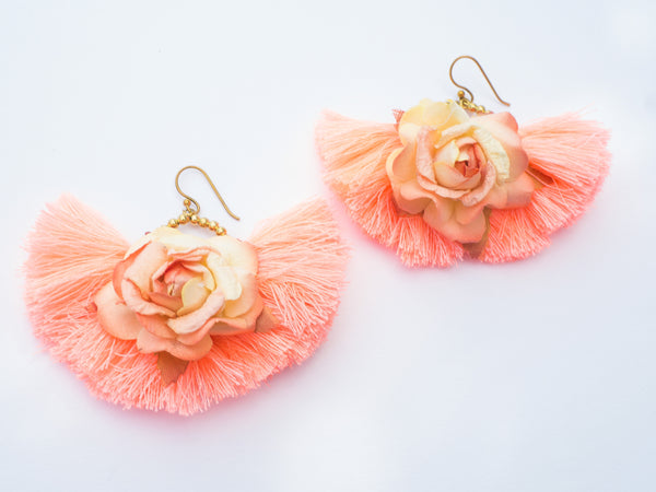 LC Tartaruga Peach Rose Tassel Fan Earrings