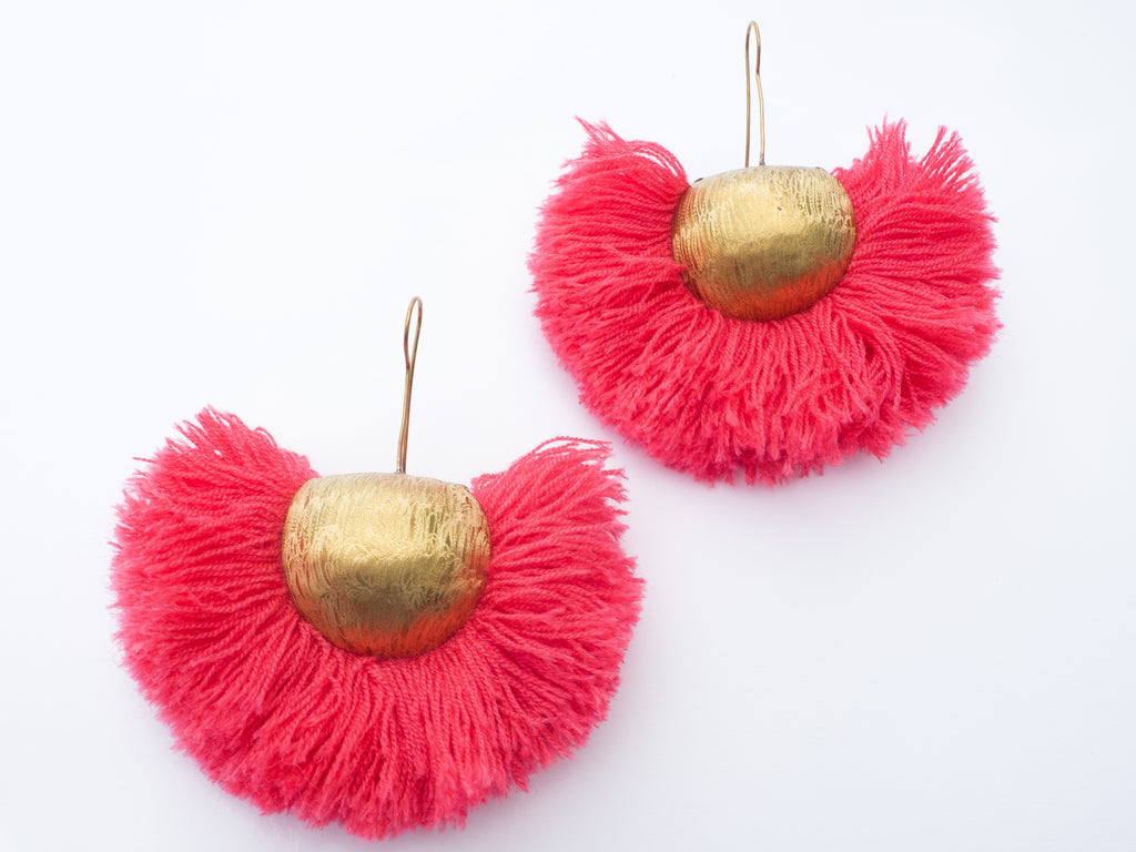 LC Tartaruga Pink Tassel Fan Earrings