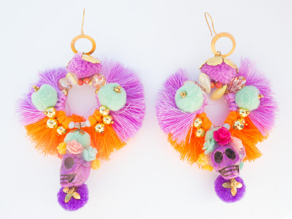 LC Tartaruga Purple Orange Skull Tassel Earrings