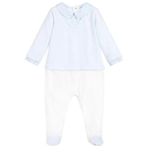 Patachou Baby Boys Blue Velour Babygrow