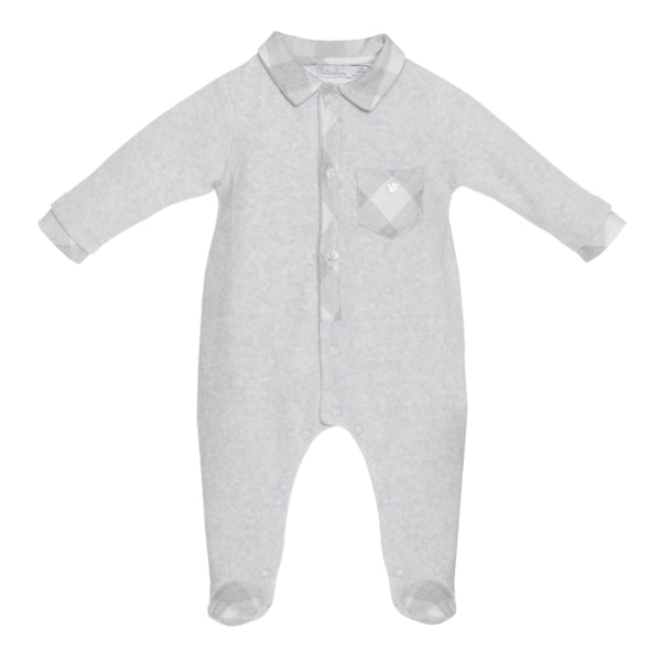 Patachou Baby Boys Grey Check Velour Babygrow