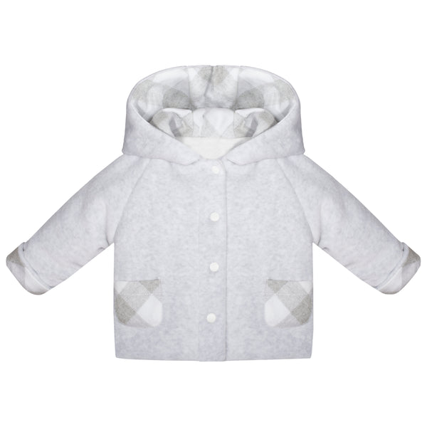 Patachou Baby Boys Grey Velour Hooded Jacket