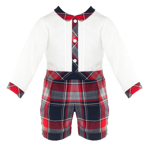 Patachou Baby Boys White and Tartan Romper