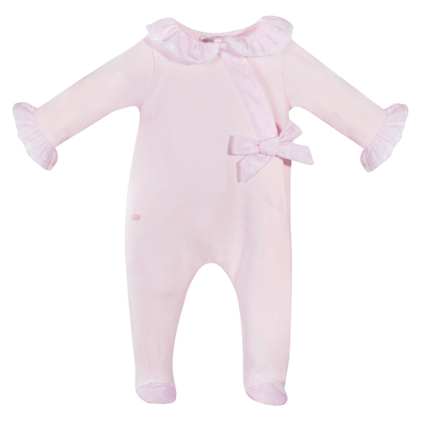 Patachou Baby Girls Pink Velour Babygrow