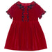 Patachou Girls Red Velvet & Tartan Dress