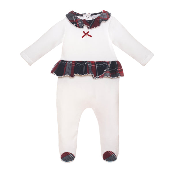 Patachou Baby Girls White & Tartan Babygrow
