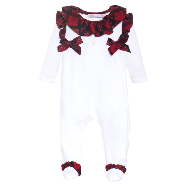 Patachou Baby Girls White & Red Tartan Babygrow