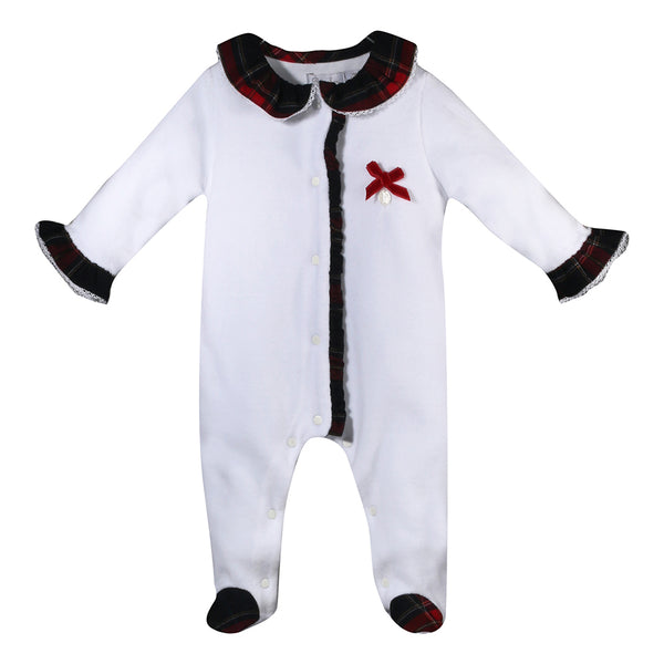 Patachou Baby Girls White & Tartan Velour Babygrow