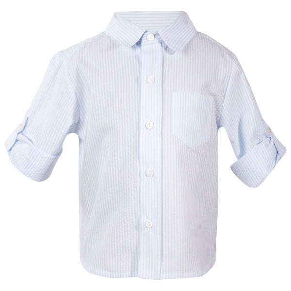 Patachou Boys Blue and White Striped Cotton Shirt