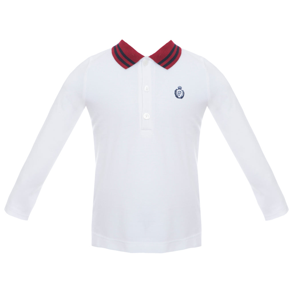 Patachou Boys White Cotton Polo Shirt
