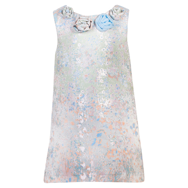 Patachou Girls Blue Jacquard Dress