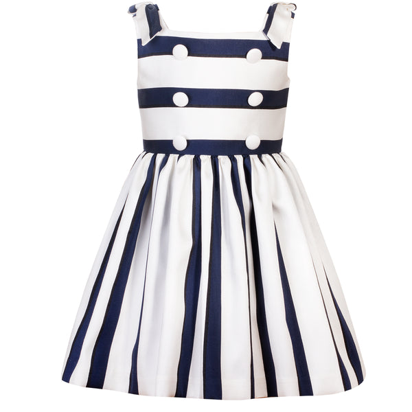 Patachou Girls Ivory & Navy Striped Dress