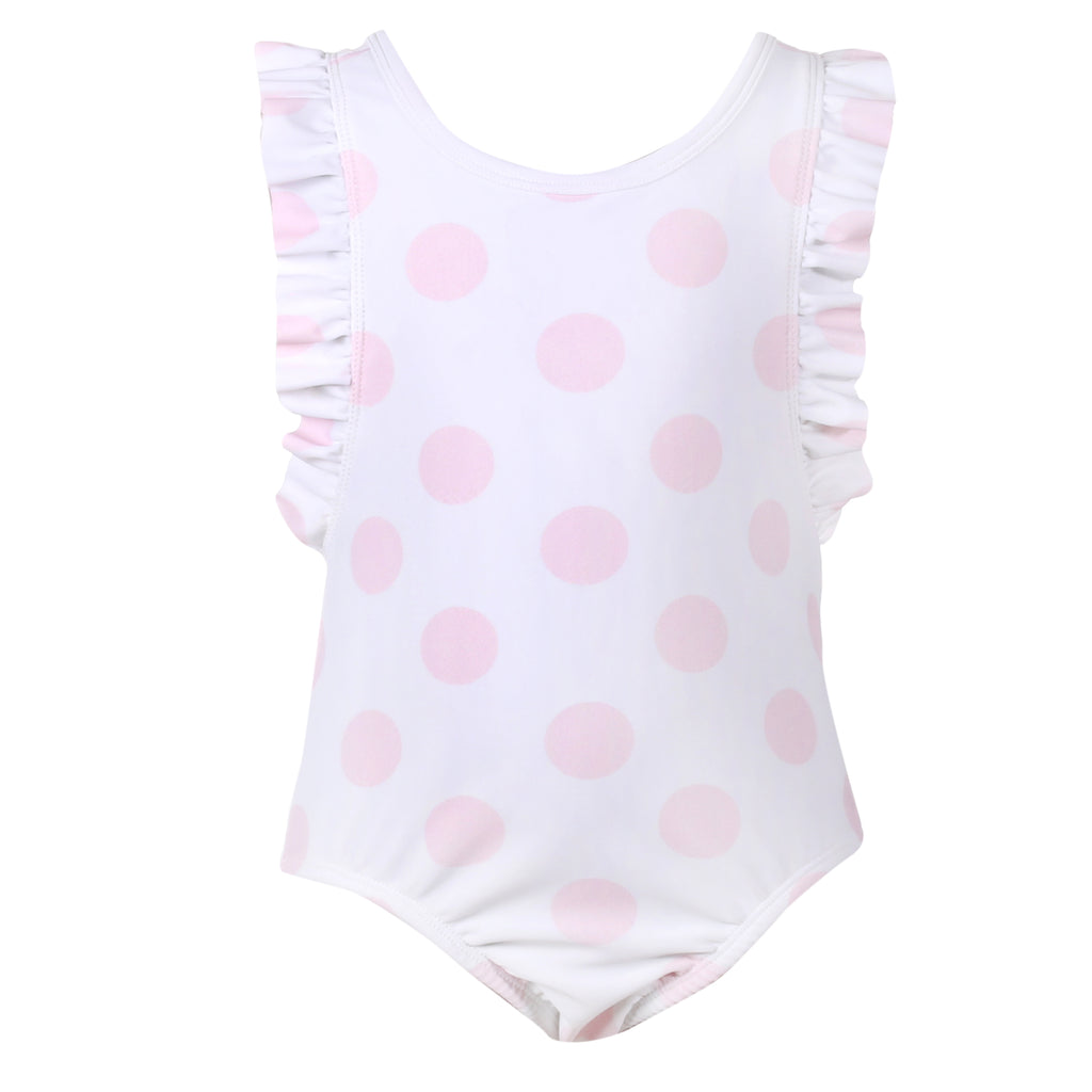 Patachou Girls White & Pink Polka Dot Swimsuit