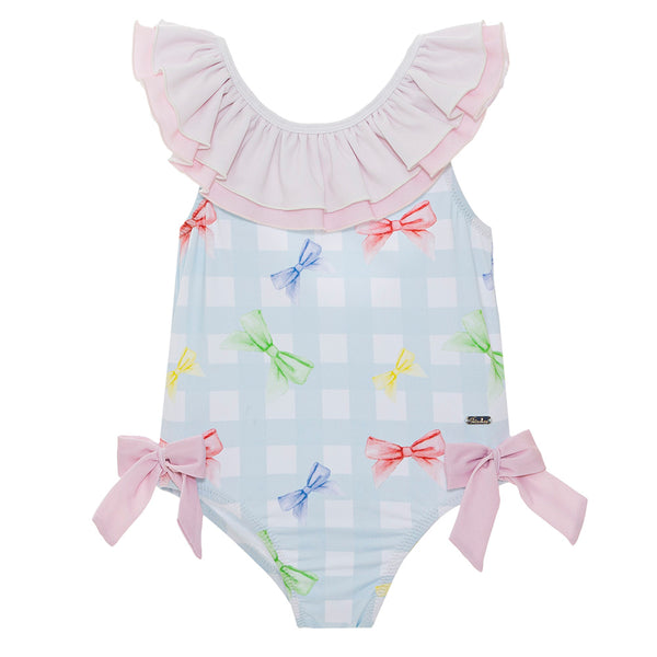 Patachou Girls Blue Check Swimsuit