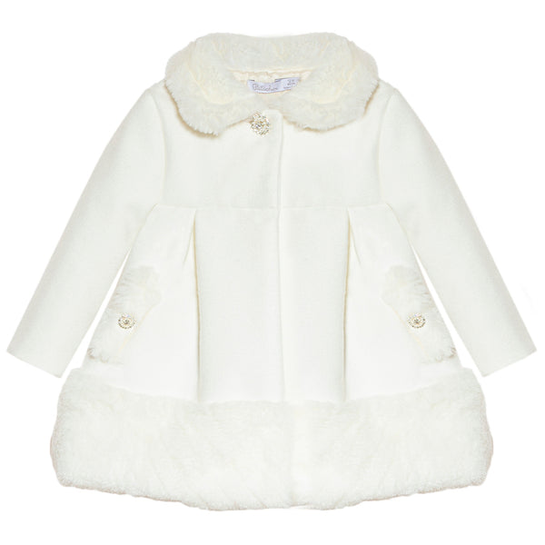 Patachou Girls Ivory & Faux Fur Coat